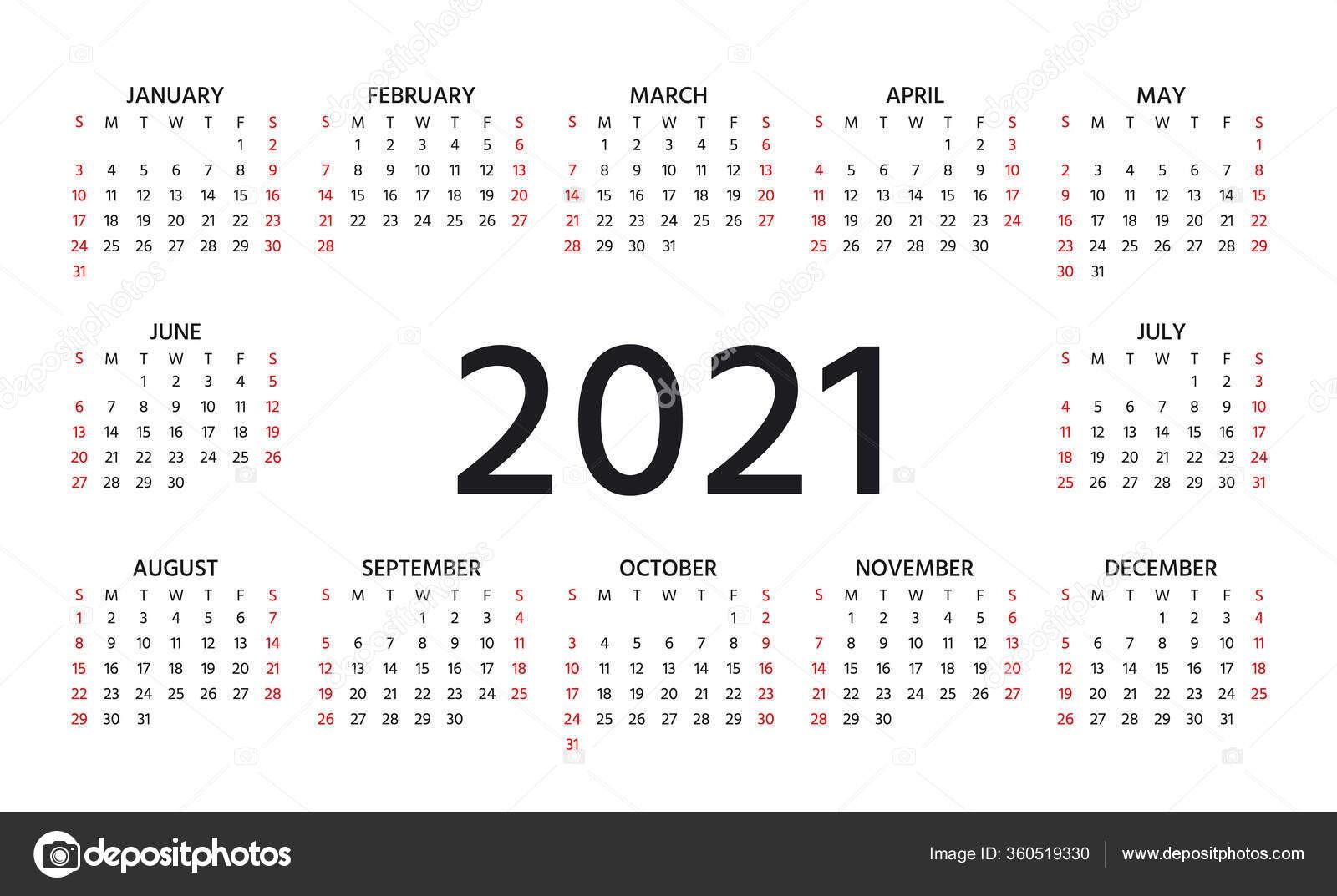 stock illustration 2021 calendar week starts sunday