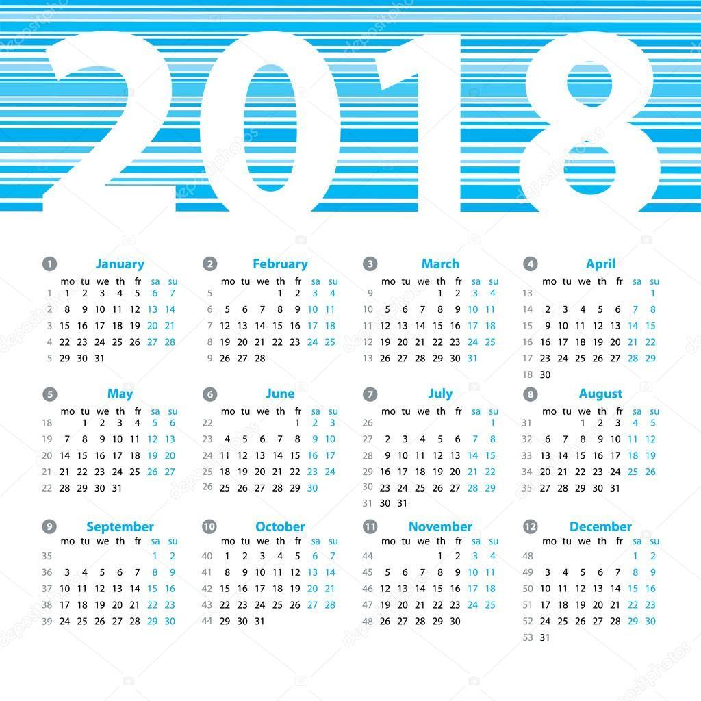 stock illustration calendar 2018 year vector design