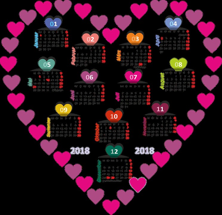 calendar 2018 heart colorful months