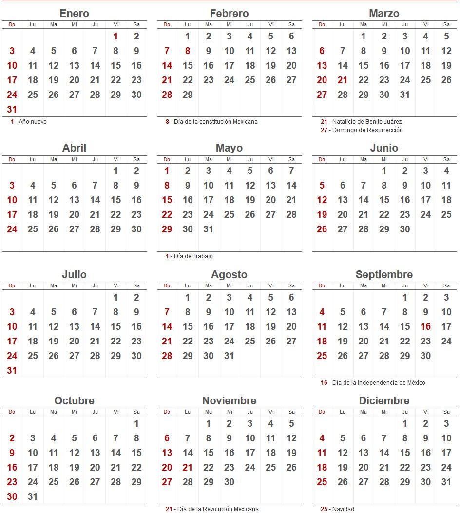 calendario del mes de enero 2016
