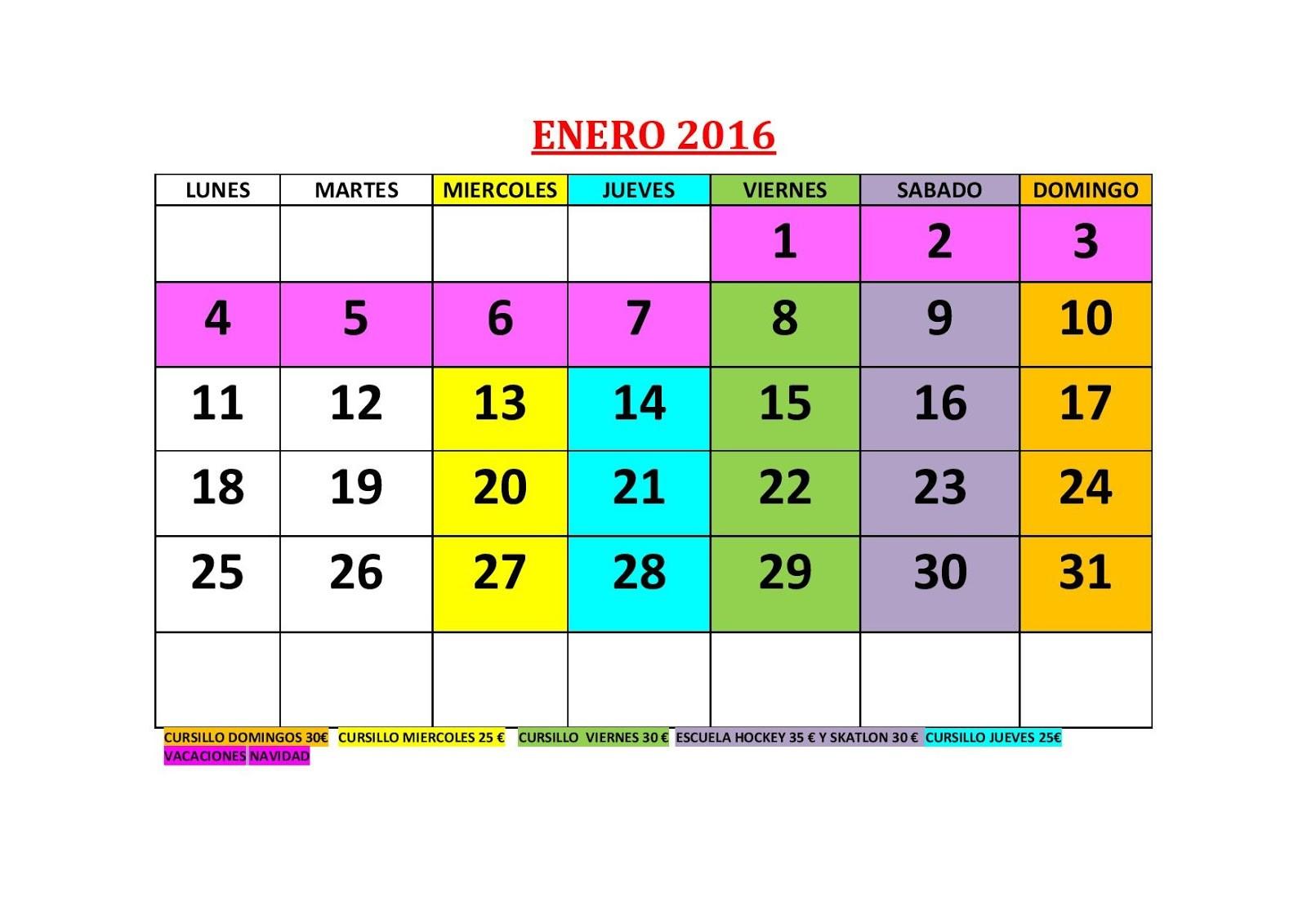 calendario de clases enero 2016