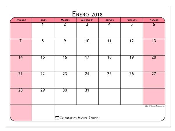 calendarios enero 2018