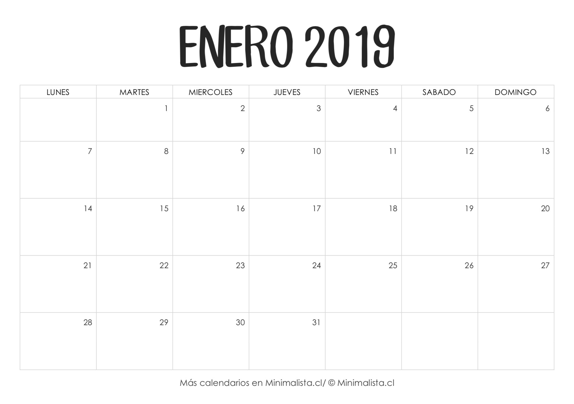calendario enero 2019 1 2