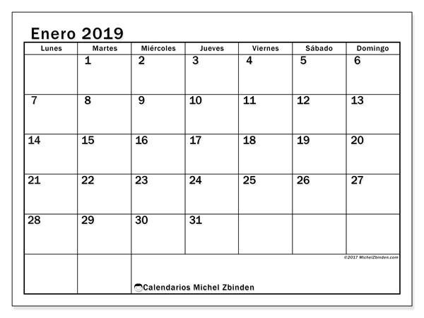 calendario enero 2019 50ld