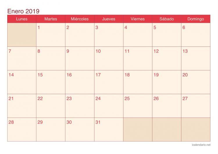 Calendario Enero 2019 Imprimir Más Recientes Calendario Enero 2019 Para Imprimir Icalendario