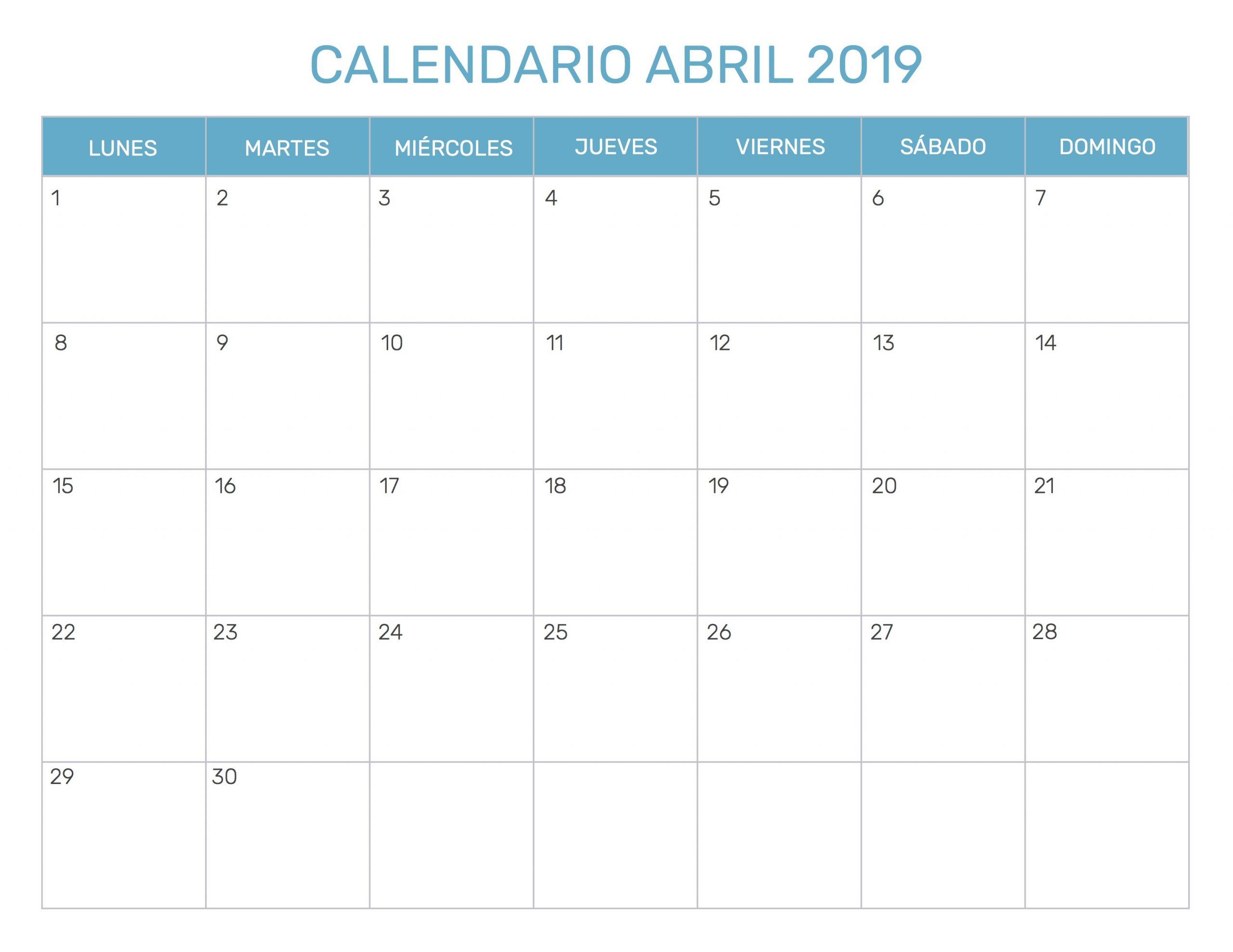 calendario mensual 2019