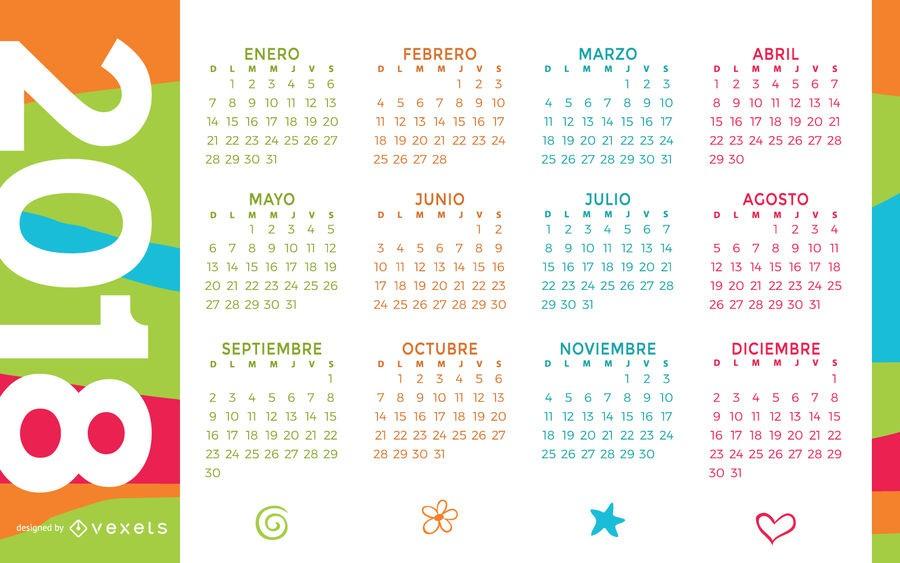 colorido calendario 2018 en espanol