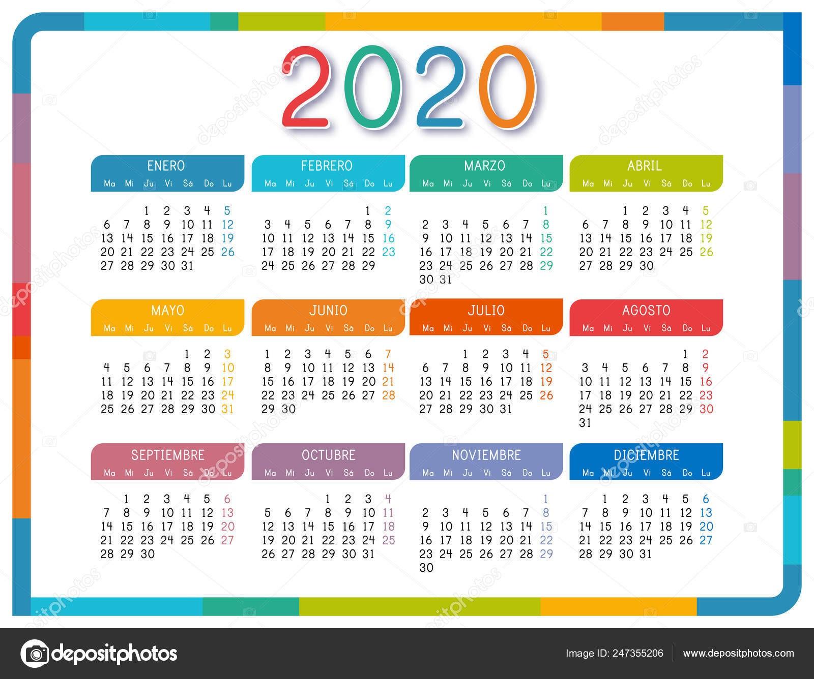 stock illustration calendar 2020 spanish language white