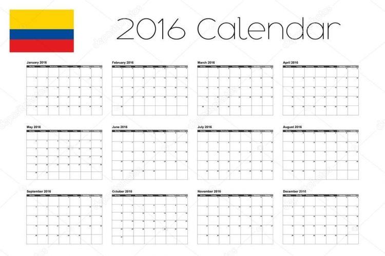 Calendario Festivos Colombia 2016 Más Recientes Calendario 2016 Con La Bandera De Colombia — Vector De