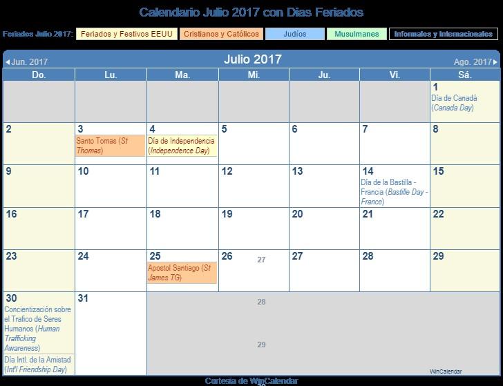 Calendario Julio 2017 Para Imprimir Más Caliente Calendario Julio 2017 Para Imprimir Estados Unidos