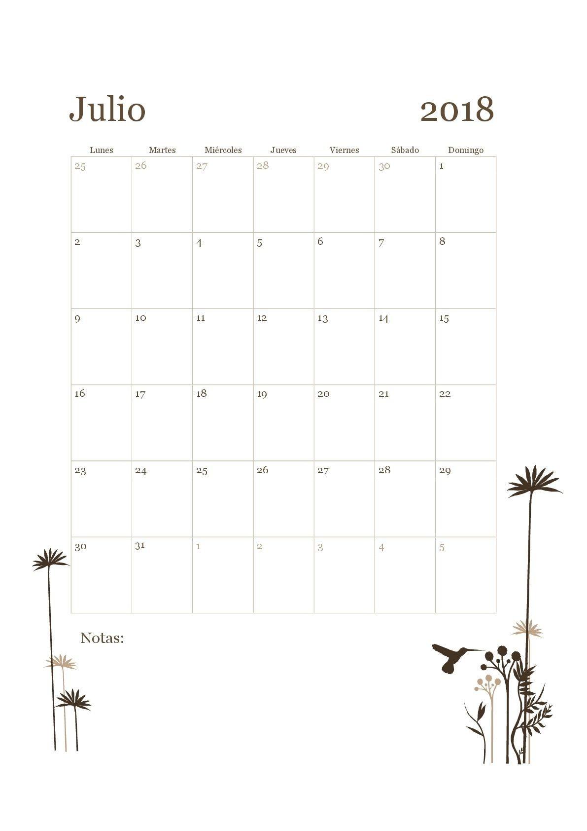 imprimir calendario de julio 2017