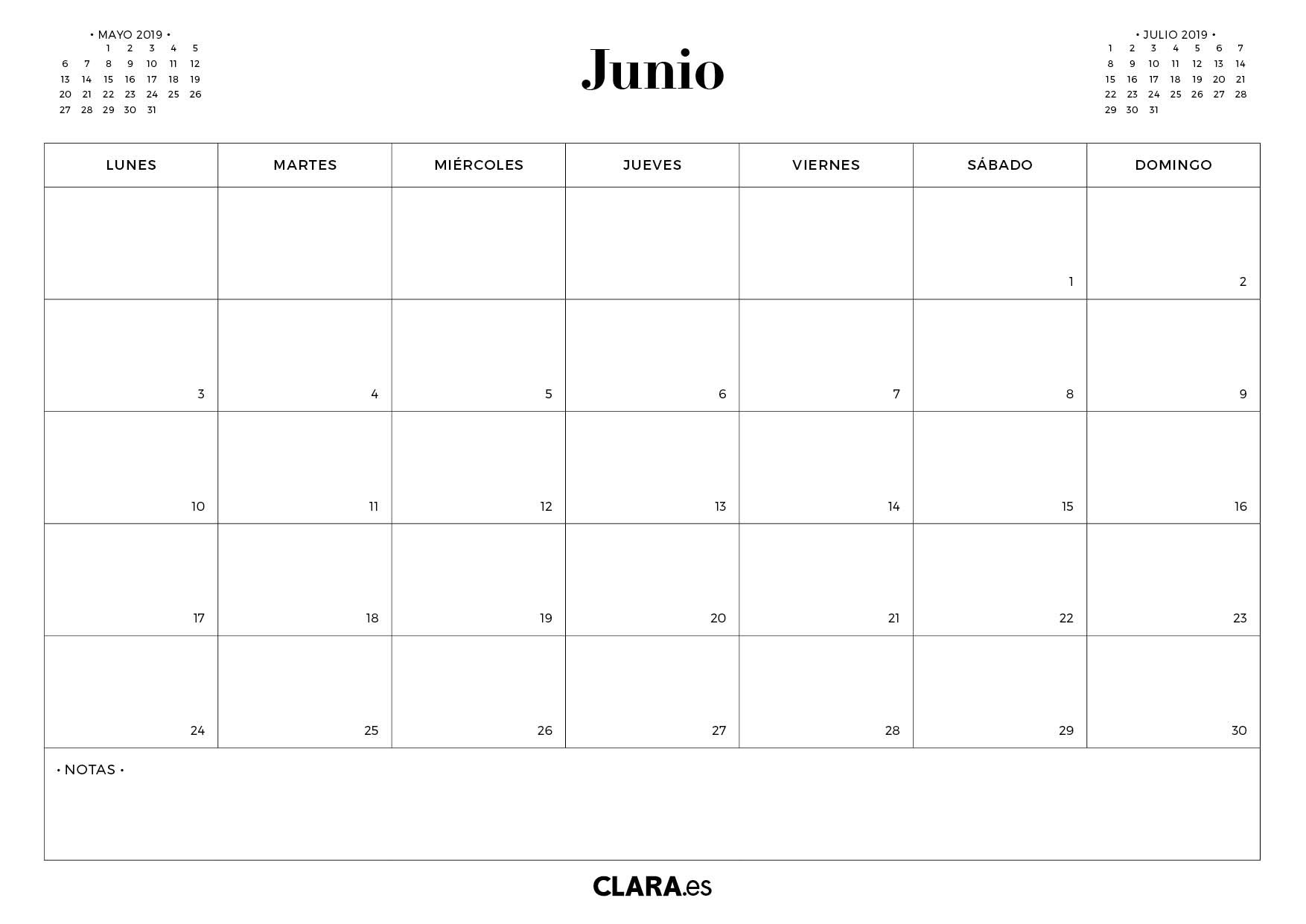 calendario junio 2019 para imprimir gratis pdf