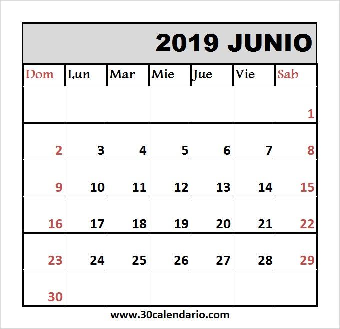 calendario junio 2019 vertical