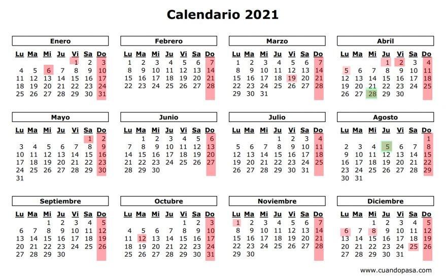 calendario laboral 2021 festivos
