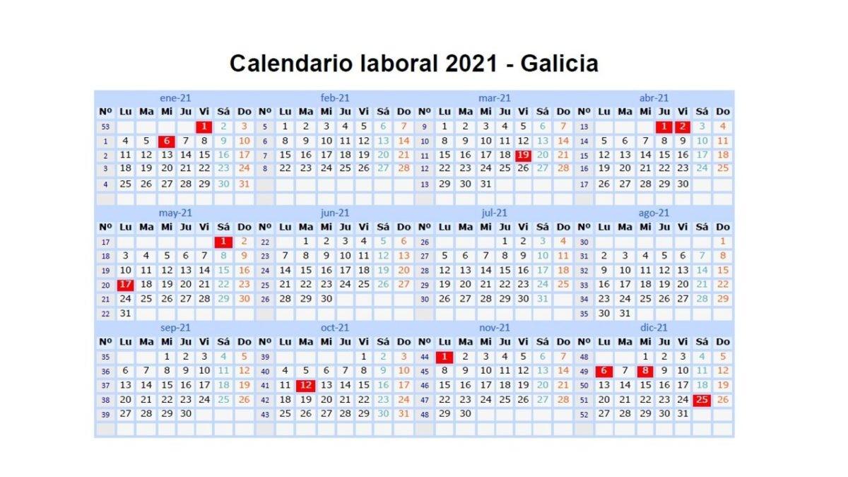 calendario laboral galicia 2021 2