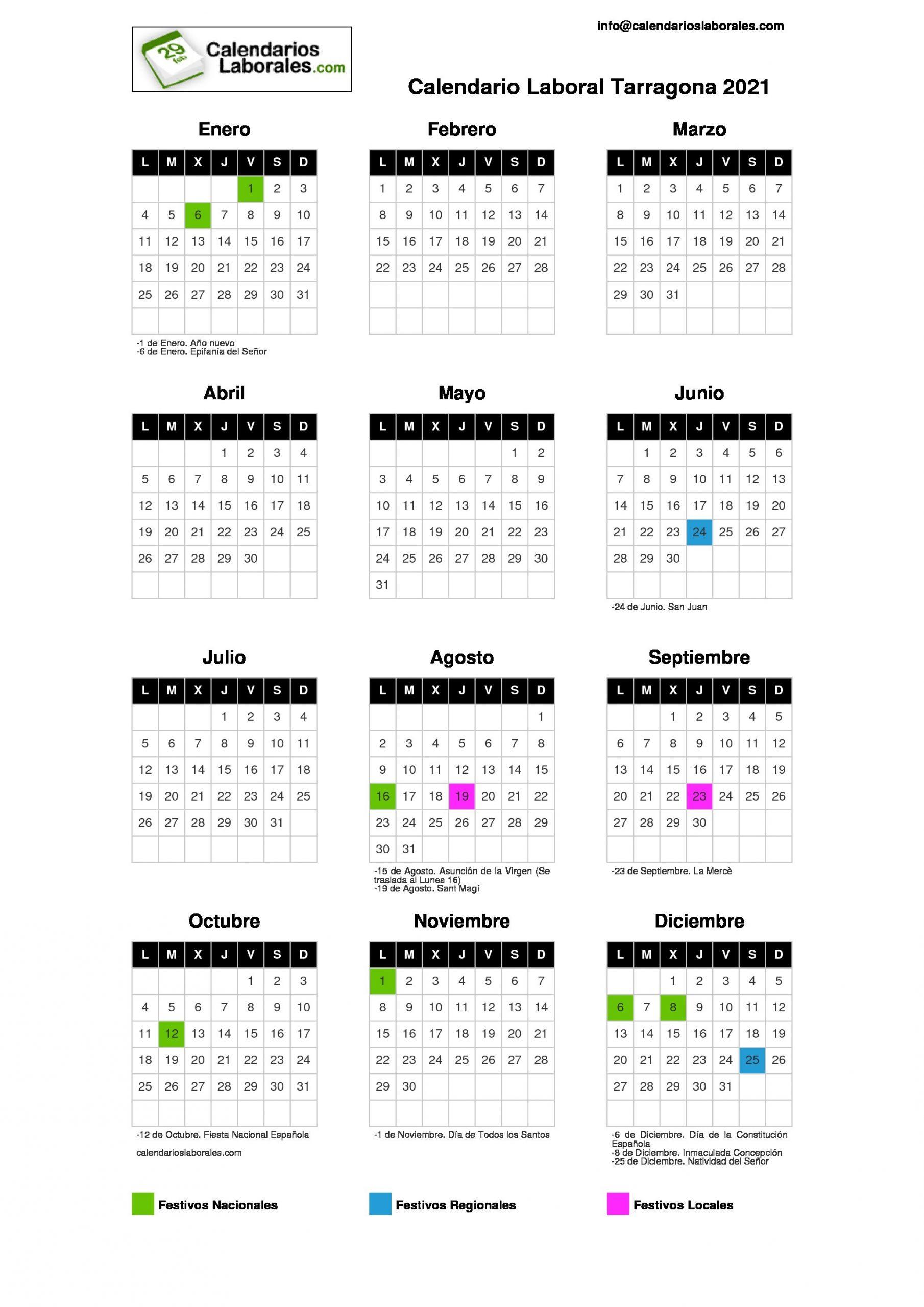 calendario laboral tarragona 2021