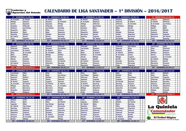 Calendario Liga Más Caliente Calendario Liga Santander 2017 4