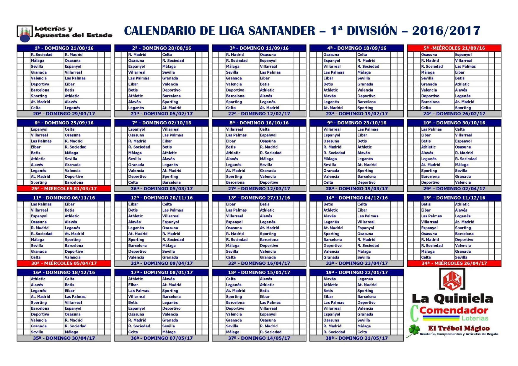 calendario liga santander 2017 4