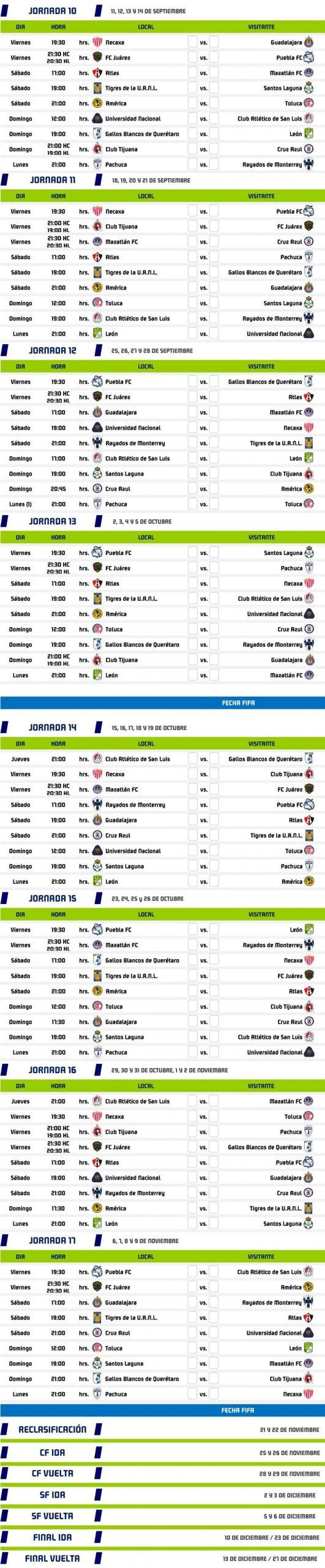 liga mx calendario pleto guardianes 2020