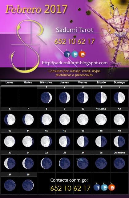 Calendario Lunar 2017 Más Populares Sadurn Tarot Calendario Lunar Febrero 2017