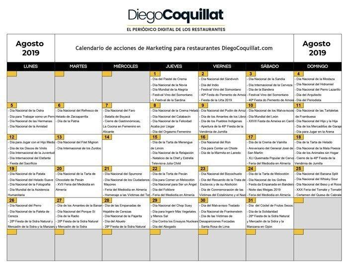 agosto de 2019 calendario de acciones de marketing para restaurantes