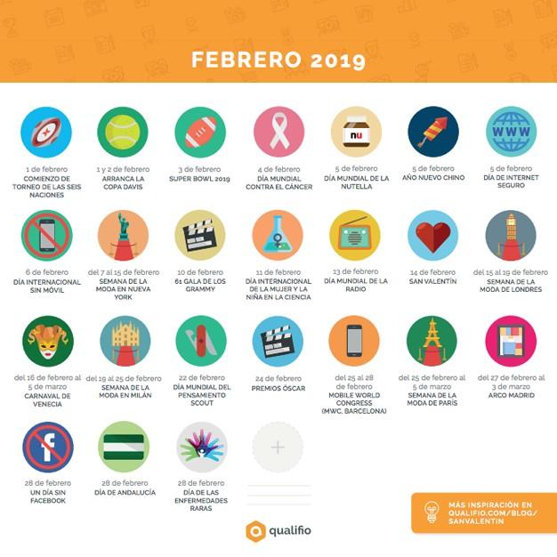 llega el calendario de marketing de qualifio con los mejores eventos de este 2019