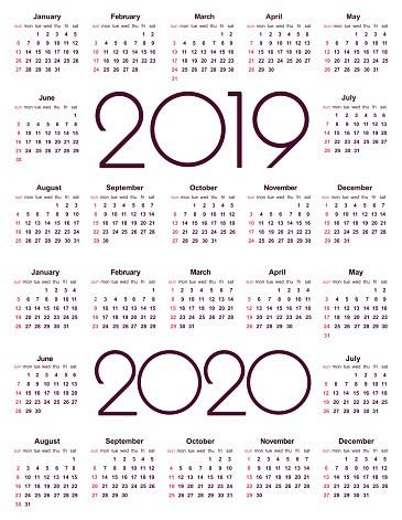 calendário 2019 e o ano 2020 gm