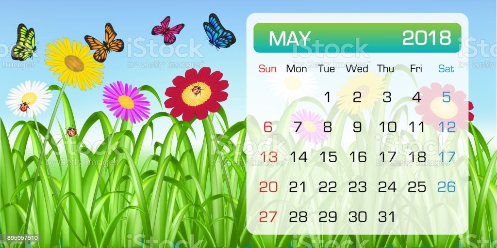 calendar of may 2018 month theme flower butterfly gm