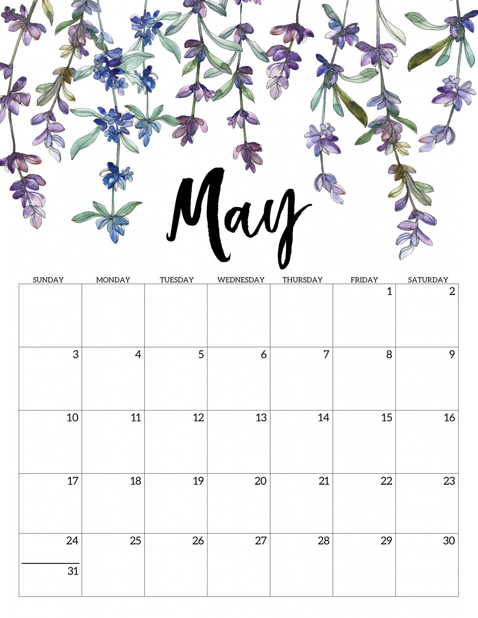 2020 free printable calendar floral