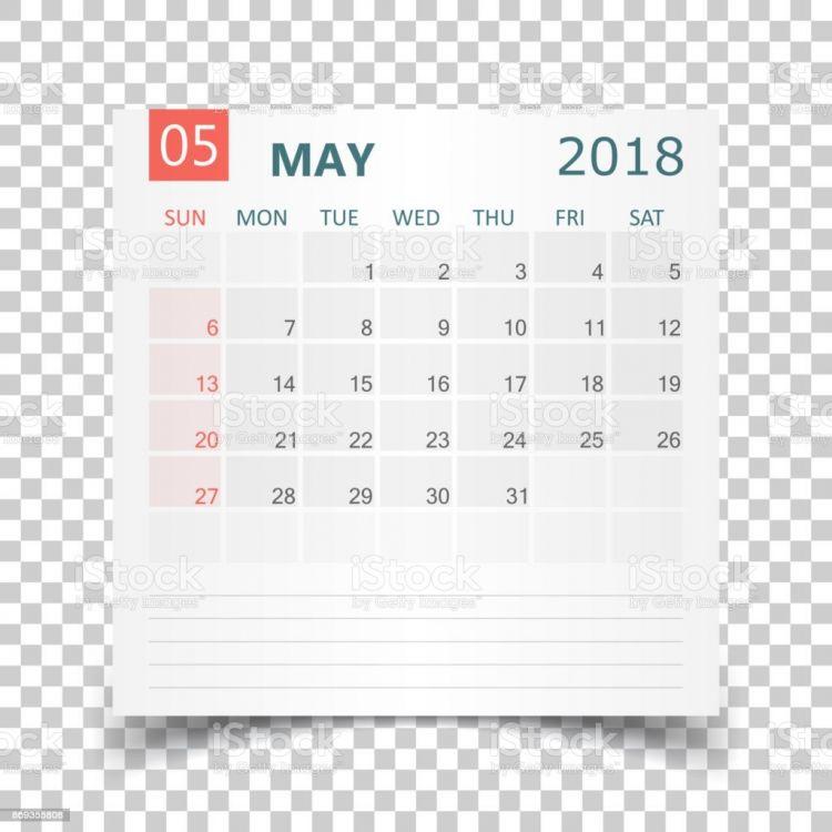 Calendario Mayo 2018 Más Actual Ilustración De Calendario De Mayo De 2018 Plantilla De