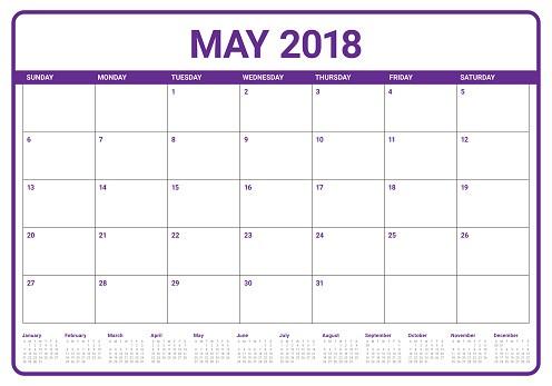ilustración de vector de planificador del calendario mayo de 2018 gm
