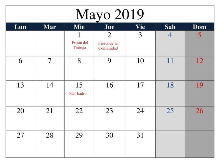 Calendario Mayo Actual Calendario Mayo Grande 2019 Con Festivos