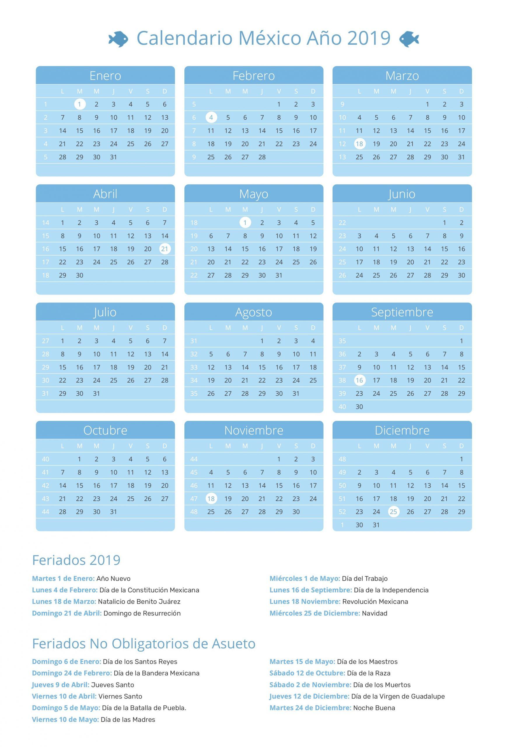 calendario mexico 2019