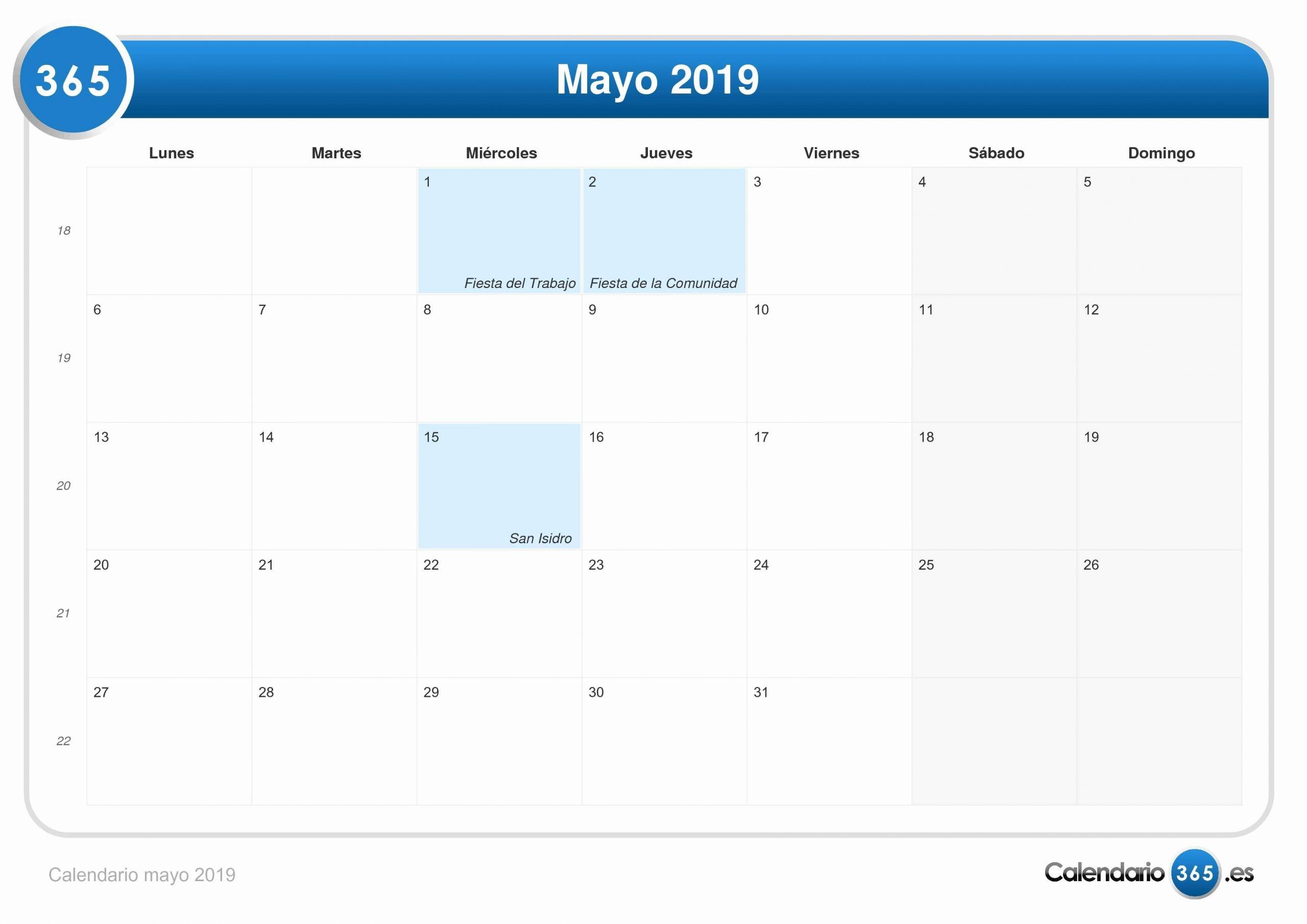 calendario 2019 en mexico