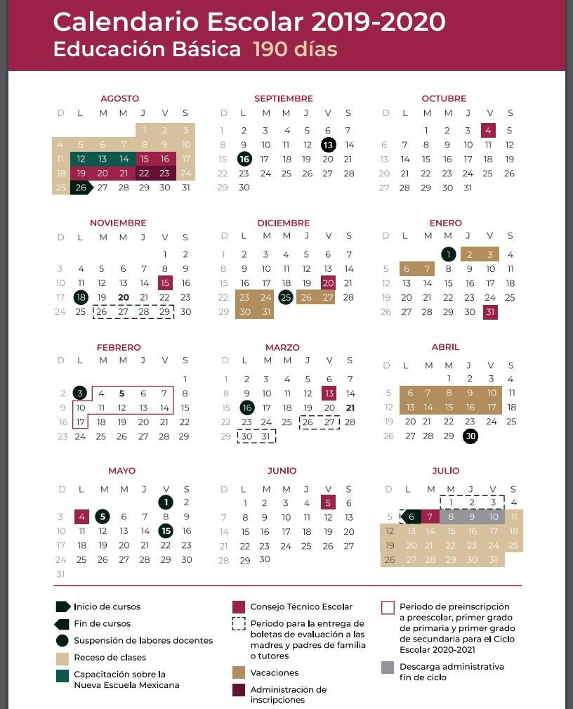 calendario escolar 2019 2020 mexico