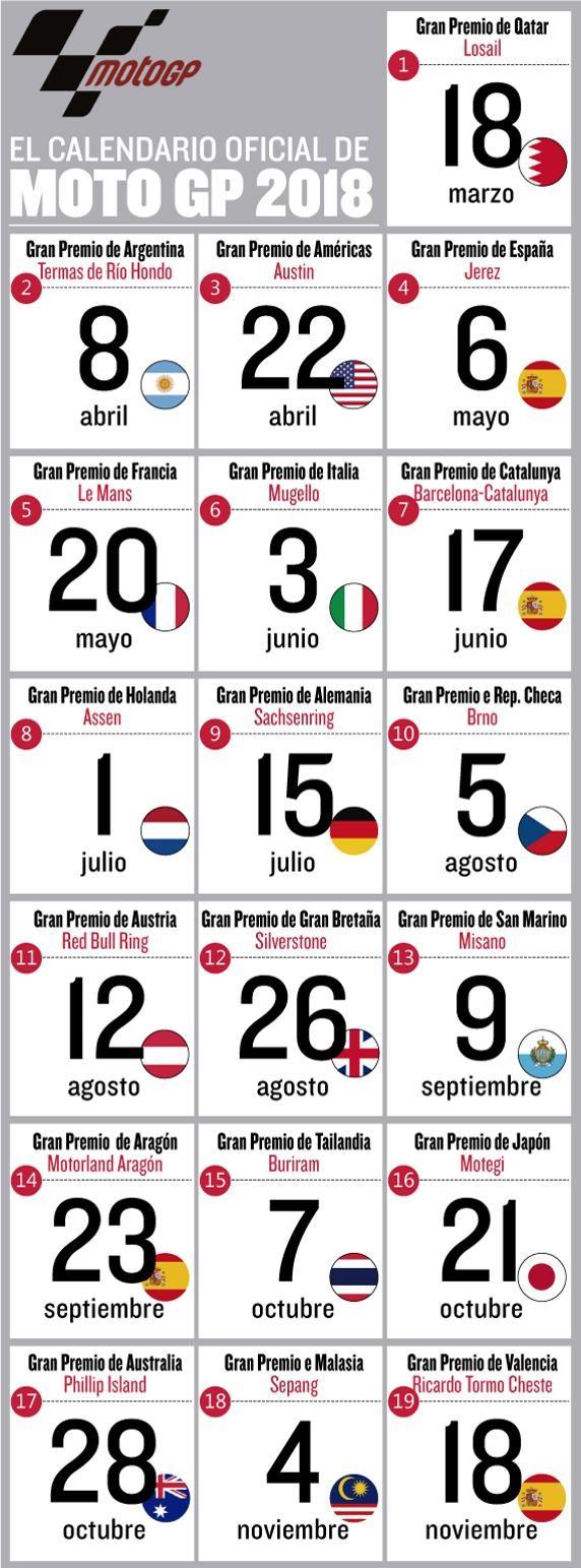 cambios en el calendario de motogp 2018