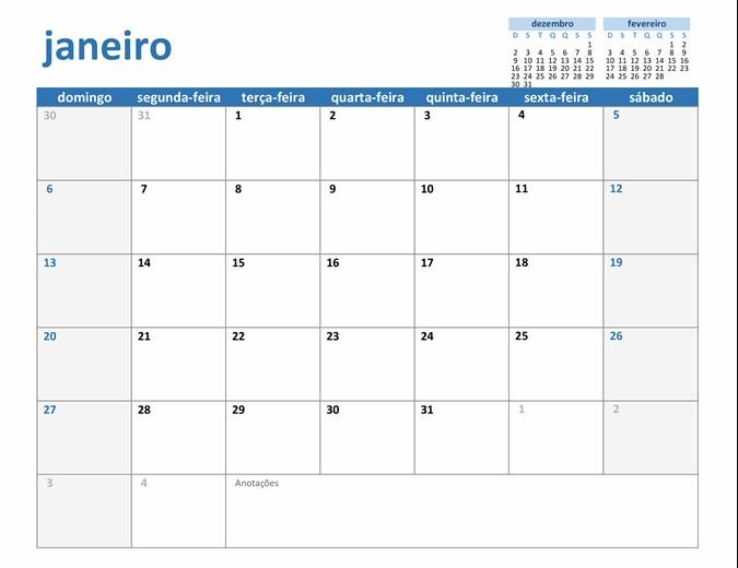 calendário de qualquer ano personalizável TM