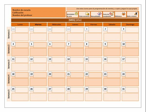 Calendario de clase TM