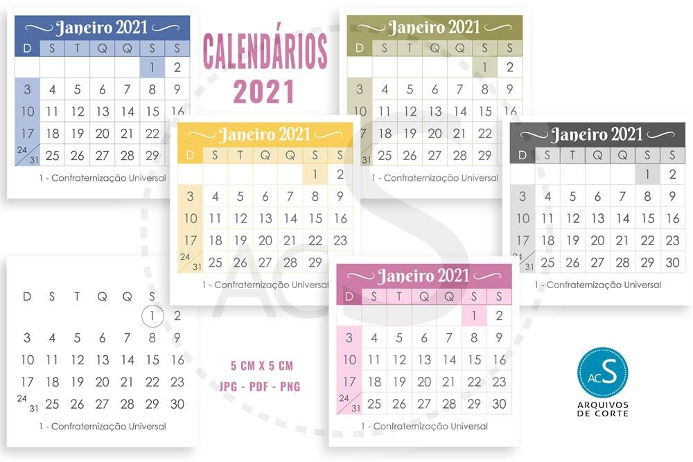 calendario 2021 para imprimir multicores