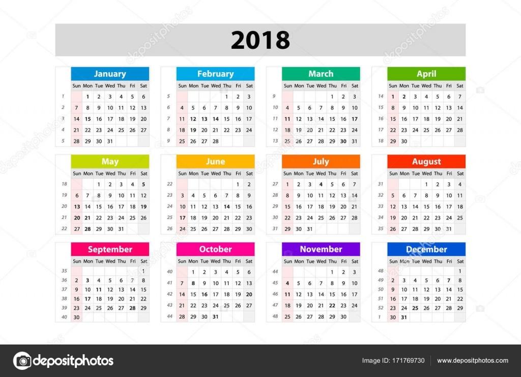 stock illustration desk calendar for 2018 year