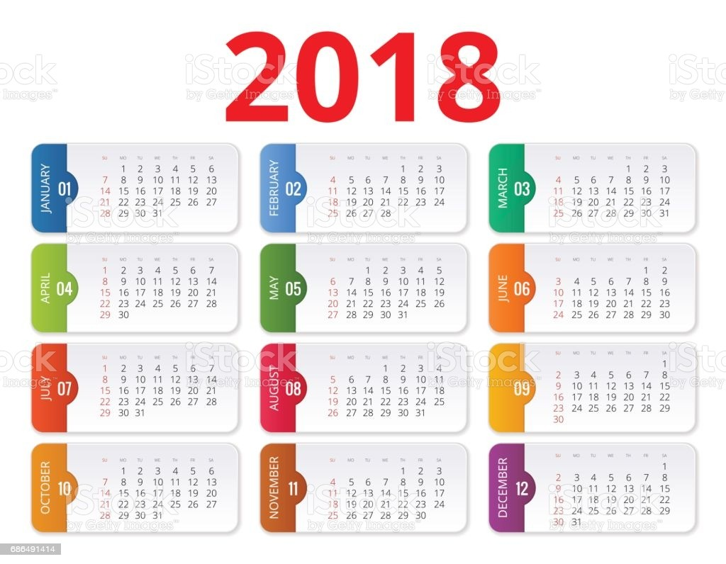 2018 calendar print template week starts sunday portrait orientation set of 12 gm