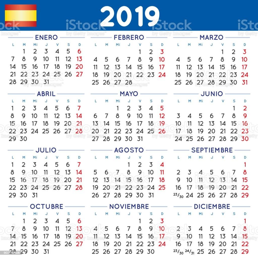 year 2019 squared calendar spanish week starts on monday gm