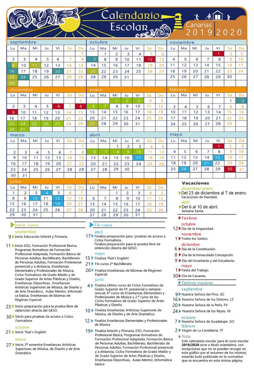 calendario escolar 2019 2020
