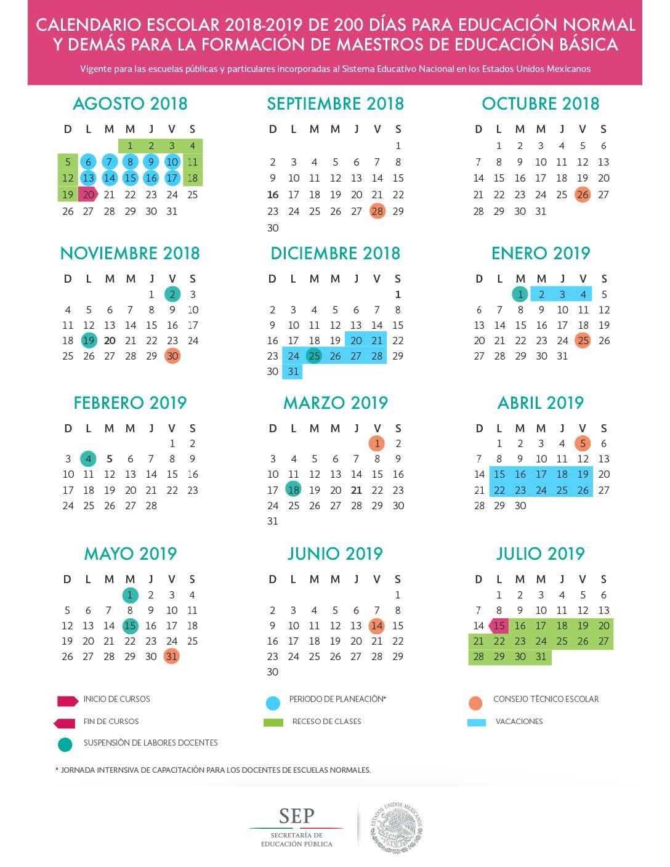 calendario escolar 2018 2019 sep 185 195 y 200 dias