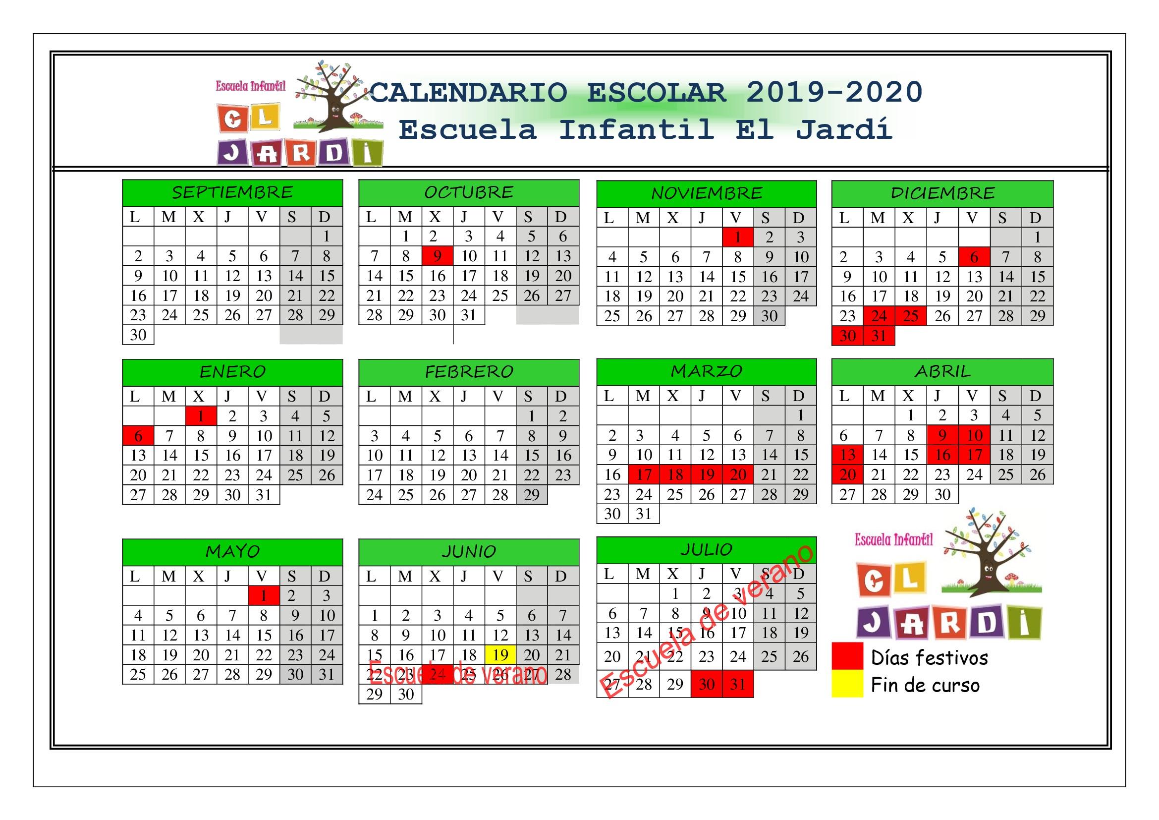 calendario escolar curso 2019 2020