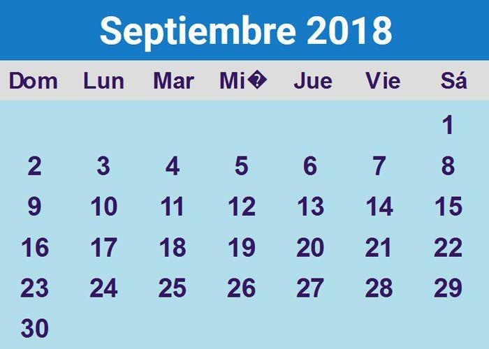 Calendario Septiembre 2018 Para Editar Más Actual Calendario Septiembre 2018 Para Imprimir Gratis