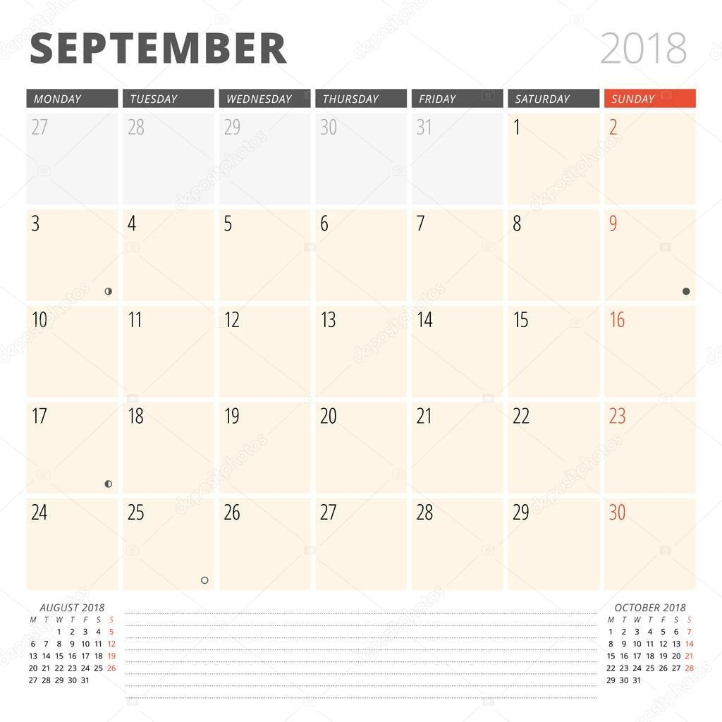 stock illustration calendar planner for september 2018