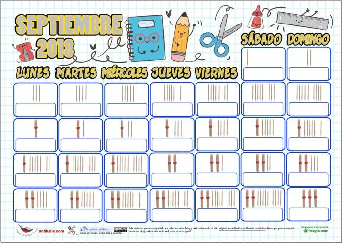 calendario septiembre con palillos