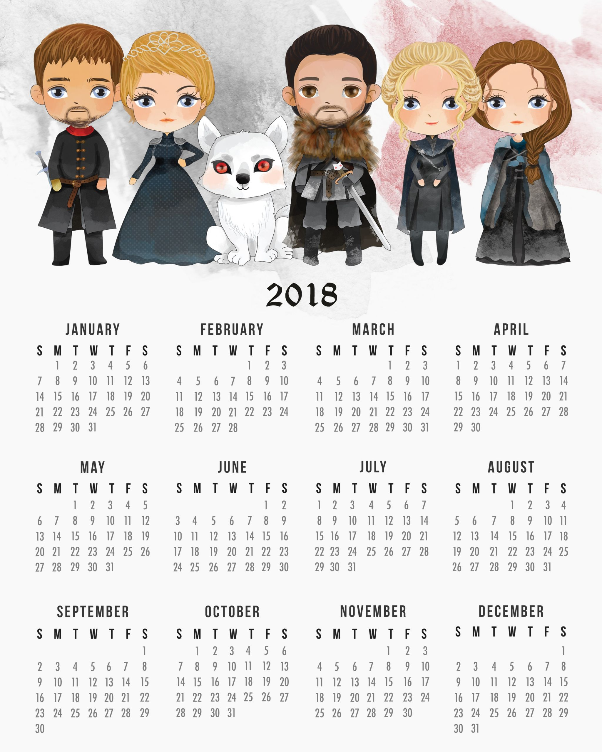 free printable 2018 game thrones calendar
