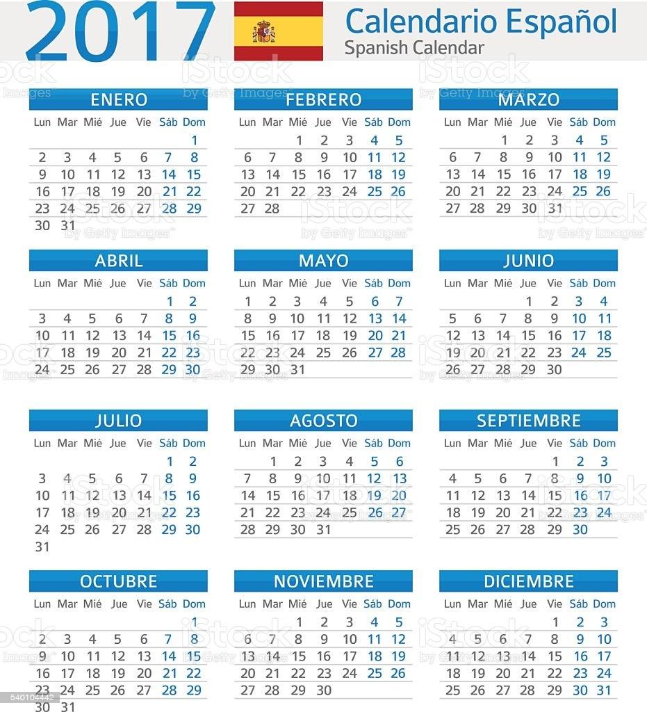 spanish calendar 2017 calendario espanol 2017 gm